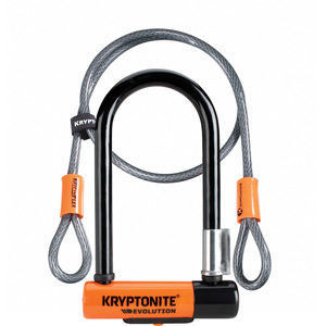 Kryptonite Evolution Mini 7 Dead Bolt Lock with 4ft Kryptoflex Cable with FlexFrame Bracket blk/oran