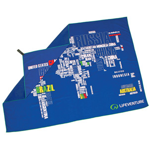 Lifeventure SoftFibre Printed Towel - Giant - World in Words blue/white