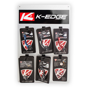 K-Edge Product Display board and branded sign blk/red