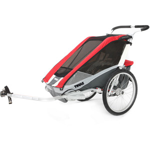 Cougar 2 child carrier U.K. certified - red / silver / grey Inc. Cycle Kit