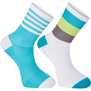 Sportive mid sock twin pack, block stripe