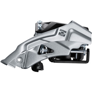 FD-M2000 Altus 9-speed hybrid front derailleur, top swing, dual-pull