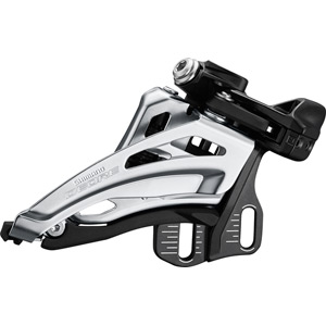 Deore M6020-E double front derailleur, E-type mount, side swing, front pull