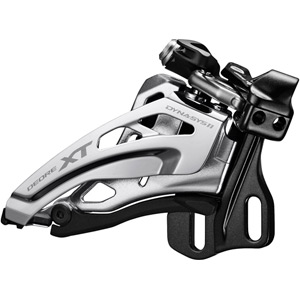 Deore XT M8025-E double front derailleur, E-type, top swing, down-pull