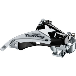 FD-TY510 hybrid front derailleur, top swing, dual-pull and multi fit for 48T