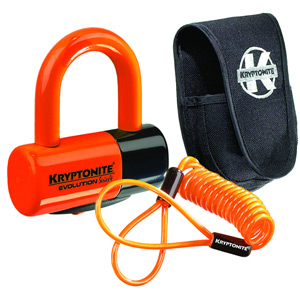 Kryptonite Evolution Series 4 disc lock - Premium Pack pouch and reminder cable - orange orange
