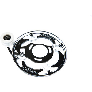P30 dual chain guide BB mount, white bash guard, fits 22-36 T