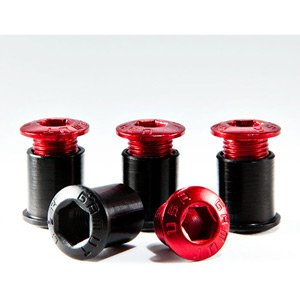 Racering Bolt - 9.5mm Back Nut, Aluminum, Red (Set of Four)