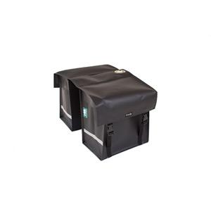 Waterproof double pannier with lock ring, matt black