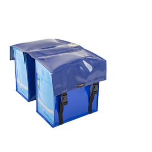 Waterproof double pannier with lock ring, blue
