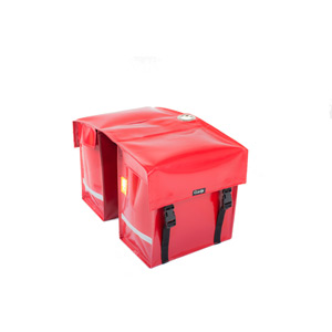 Waterproof double pannier with lock ring, red