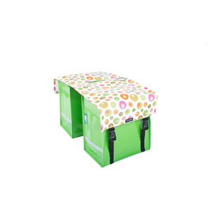Waterproof double pannier with lock ring, green balls pattern