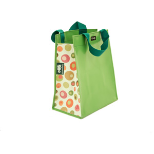 Single inner sleeve shopping bag to fit Clarijs pannier, green balls pattern