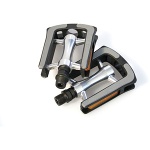 Commute pedals, alloy body, plastic cage, Kraton top - 9/16 inch thread