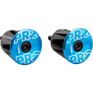 Handlebar end plug, anodized alloy, blue