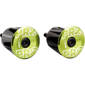 Handlebar end plug, anodized alloy, green