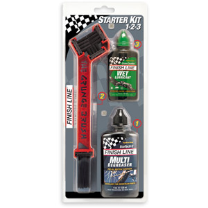 Finish Line Starter Kit 1-2-3 - Grunge Brush w/4 oz Degreaser & 2 oz Lube