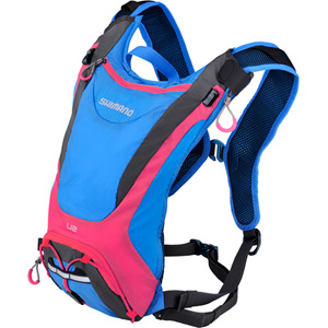 Unzen U2, 2 litre volume hydration pack, 2 litre reservoir, blue / pink