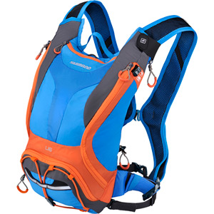 Unzen U6, 6 litre volume hydration pack, 2 litre reservoir, blue / orange