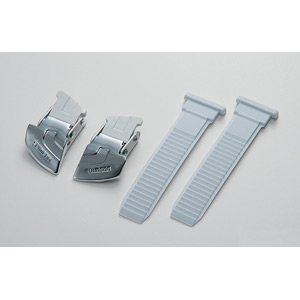 Universal large buckle and strap set, silver / white