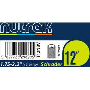 12 x 1.75 - 2.125 inch Schrader inner tube with 45 degree bent valve