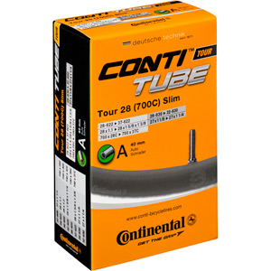 Continental Tour 28 slim tube 700 x 28 - 37C Schrader valve Inner Tube black