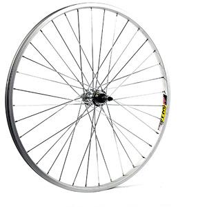 26 x 1.75 alloy solid axle for multi freewheel 135 mm silver rear wheel