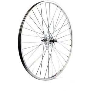 26 x 1 3/8 alloy solid axle for single freewheel 110 mm silver rear wheel