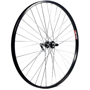 700C x 19 mm alloy QR axle for multi freewheel 135 mm black rear wheel