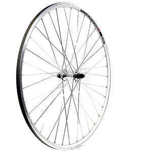 700C x 13 mm alloy hub 36 hole QR axle 100 mm silver front wheel