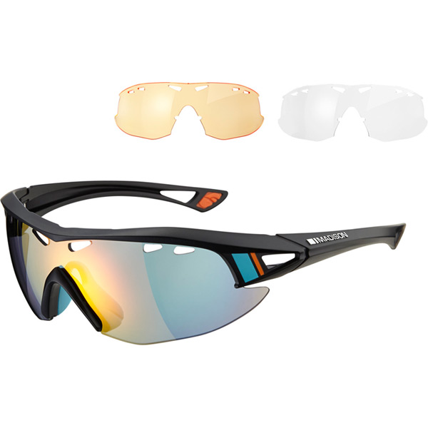Recon glasses 3 lens pack - MGT Ltd black / fire mirror, amber & clear lenses