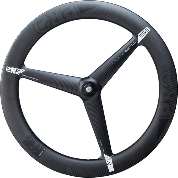 3K Carbon 3-spoke wheel - front - tubular